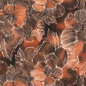 Bilde av Bomulljersey Blomster terracotta oransje