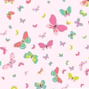 Bilde av Bomulljersey sommerfugler lys rosa