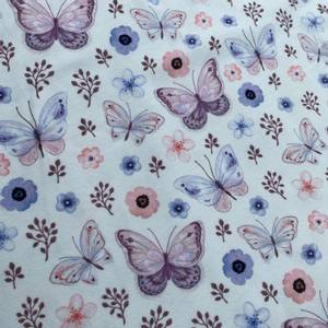 Bilde av Bomullsjersey blomster og sommerfugler hvit