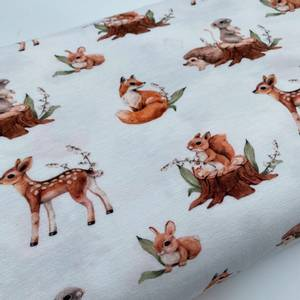 Bilde av Bomullsjersey multi dyr i skogen krem
