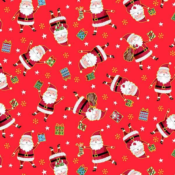 Bomull stoff Santa Rød