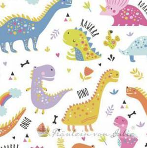 Bilde av Bomullsjersey dinosaurer i dus farge